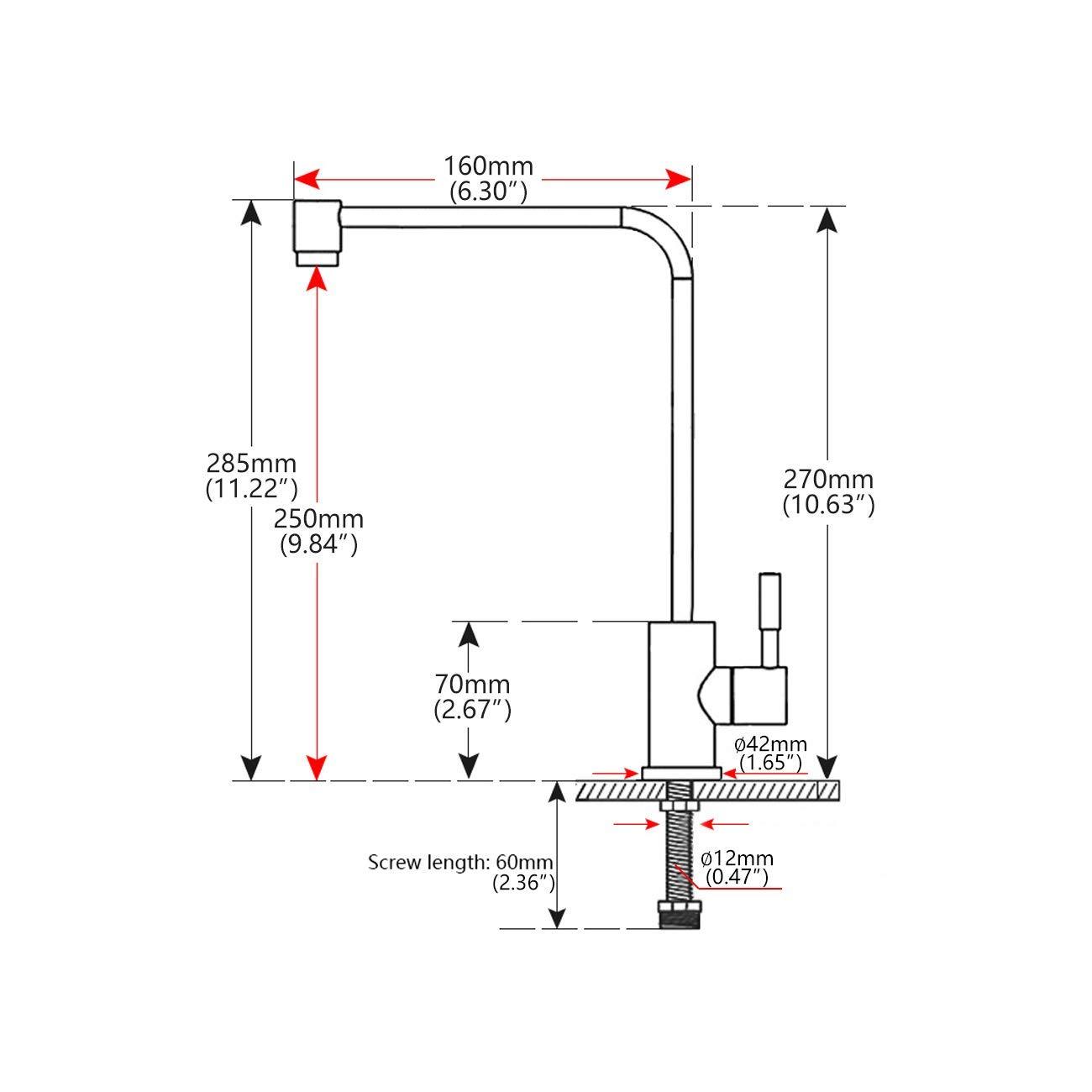Grifo purificador de fregadero de lavabo de cocina t/áctil de acero inoxidable para toda la filtraci/ón de agua potable y sistema de /ósmosis inversa 39 x 20,4 x 5,2 cm
