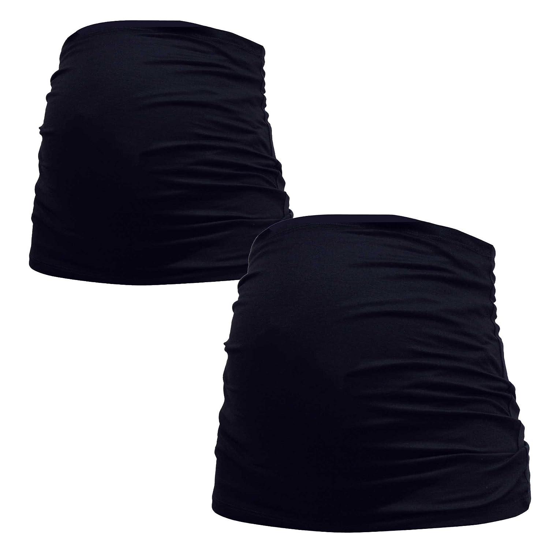 Mamaband Schwangerschaft Bauchband für die Babykugel – Rückenwärmer und Shirtverlängerung für Schwangere – Elastische Umstandsmode in Schwarz im Doppelpack Größe 44-48 mama band