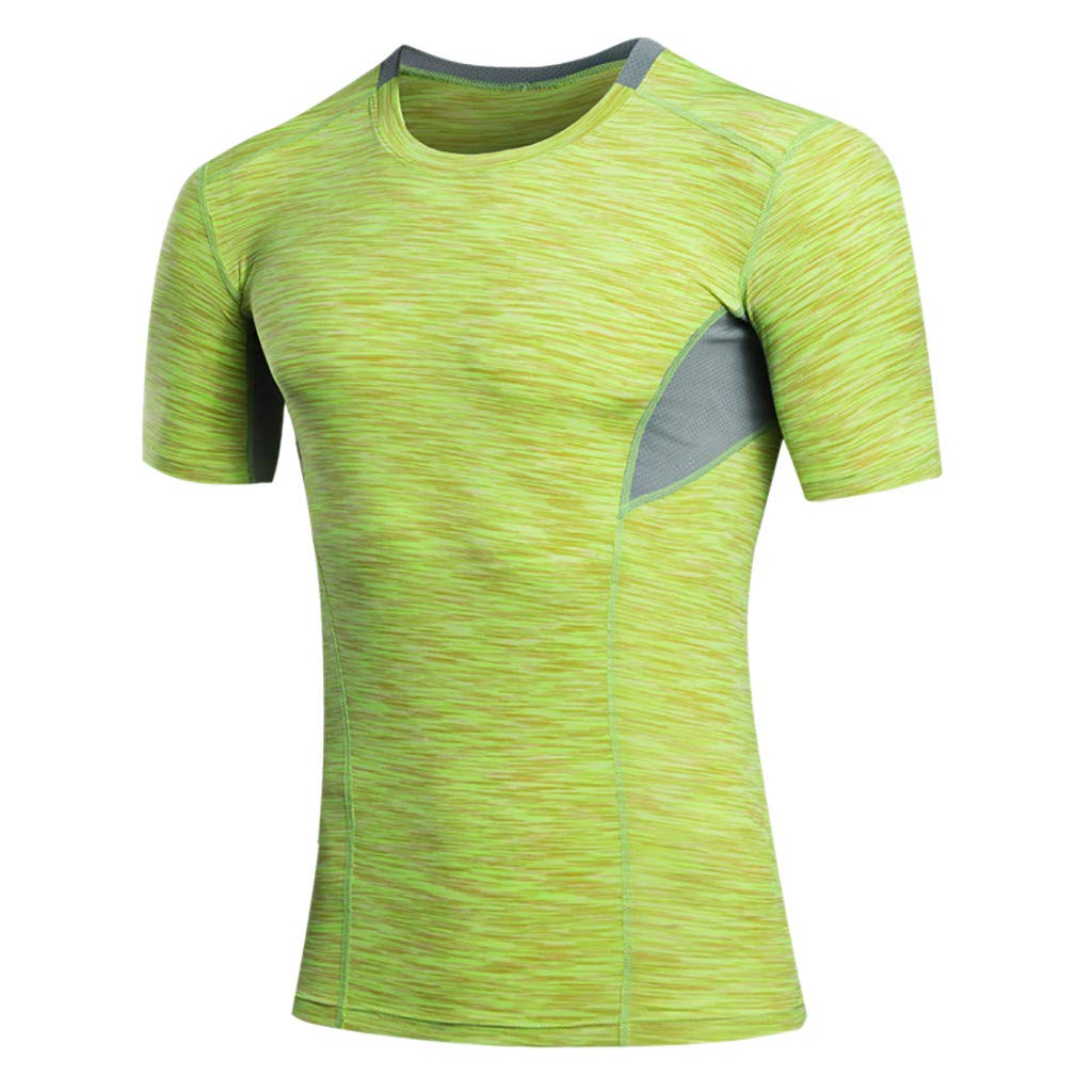 Men Long Shirt,Men's Summer Casual O-Neck T-Shirt Fitness Sport Fast-Dry Breathable Top Blouse,Men's Military Clothing,Yellow,M