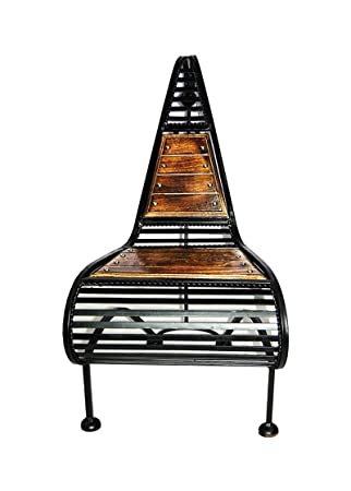 Jk Handicrafts Premium Quality Big Solid Beautiful Wood and Iron Handmade Handicraft Living Room Chair and Bar Chair Home Decor Item/Gift Item (Walnut)