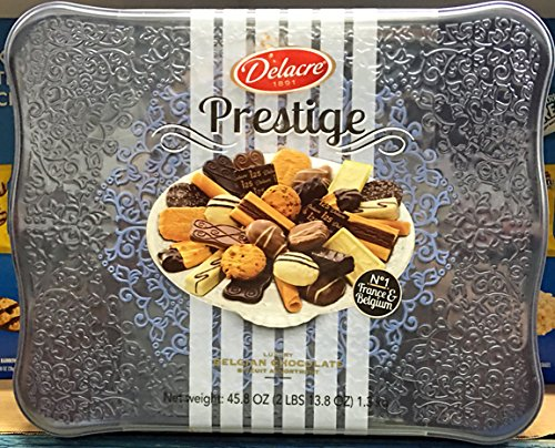 Delacre Belgian Chocolate Biscuit Prestige Luxury Assortment in a 45.8 Oz Tin Gift Box - Colors May Vary