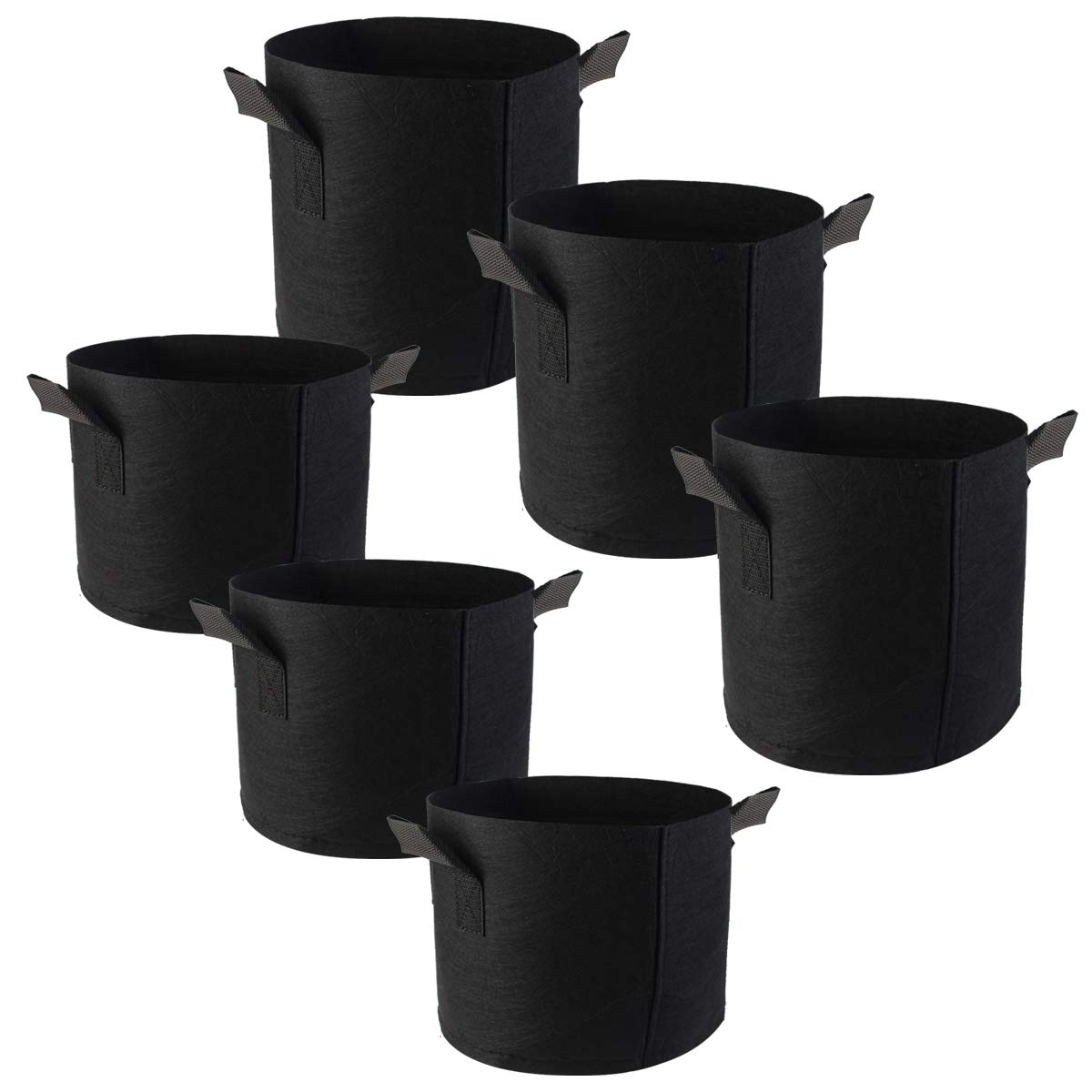 Poualss 6-Pack Thickened Grow Bags 3 Gallon, 5 Gallon Plant Grow Bags Non-Woven Aeration Fabric with Handles Growing Bags