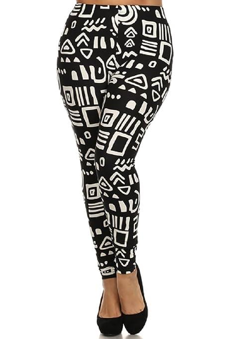 328ec4e96ab Elegant4U Women s Printed Abstract Blended Diamond Plus Size Leggings at Amazon  Women s Clothing store