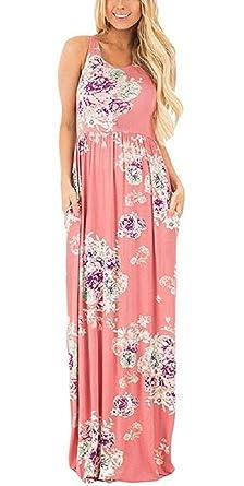 420be7c0eee645 Walant Damen Ärmellos Drucken Maxi Kleid Lang Sommerkleid Strandkleid Rosa s