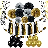 Pietypet Party Decorations, Paper Pom Poms Paper Tassel, Polka Dot Garland, Hanging Swirl Balloon Kit Baby Shower Wedding Birthday Celebration Table Wall Decoration - Black