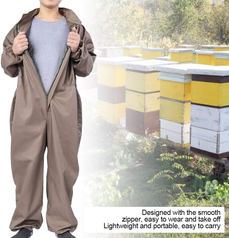 L Garosa Beekeeping Suit with Veil Professional Protective Beekeeping Jumpsuit Hooded Veil Beekeeper Clothing Cotton Long Sleeve Bee Keeping Protection Supplies