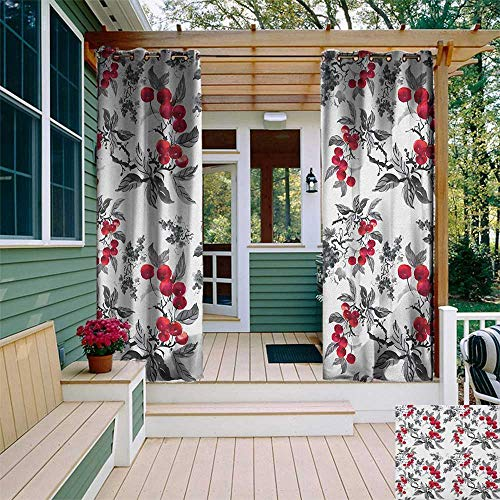 leinuoyi Rowan, Outdoor Curtain Pole, Abstract Modern Garden Theme with Artistic Rowan Plant Botanical Pattern Design, Fabric by The Yard W96 x L108 Inch Ruby Grey Black ()