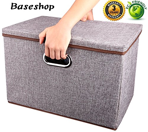 Storage Container Organizer bin Collapsible,Large Foldable Linen Fabric Gray Box with Removable Lid and Handles, for Home,Baby,Office,Nursery,Closet,Bedroom,Living Room,NO Peculiar Smell [1-Pack] by Baseshop