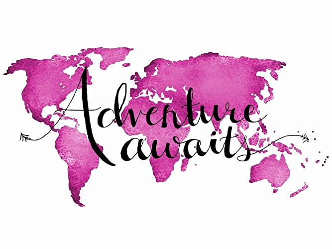 Amazon adventure awaits world map art print pink travel nursery adventure awaits world map art print pink travel nursery decor travel quotes map of the world gumiabroncs Choice Image