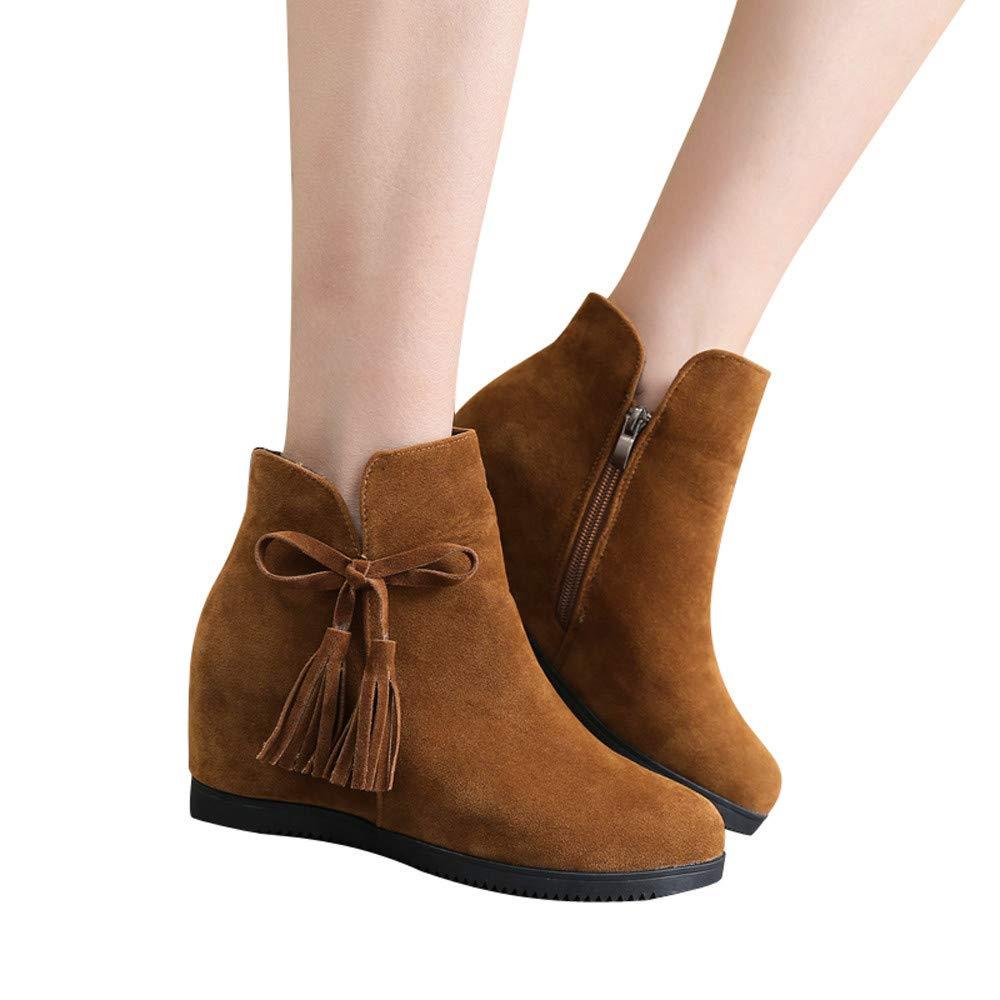 FeiBeauty Frauen Runde Kopf Wildleder Quaste Reiß verschluss Stiefel damen Keile flache Schuhe erhö ht Schuhe