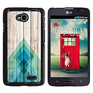 FECELL CITY // Duro Aluminio Pegatina PC Caso decorativo Funda Carcasa de Protección para LG Optimus L70 / LS620 / D325 / MS323 // Teal Pier Wood Pattern Lines Blue Abstract