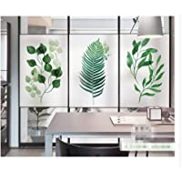 Window Privacy Film No Glue Static Cling Window Film Green Plant Leaves Pattern Decorative Frosted Glass Films Window…