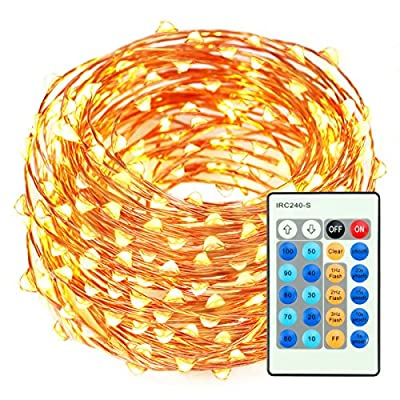 Christmas Lights LED String lights 66ft 200 LEDs Dimmable with Remote Control Amysen Waterproof Decorative Lighting for Bedroom, Wedding, Patio, Garden, Party (Warm White, Copper Wire Lights)