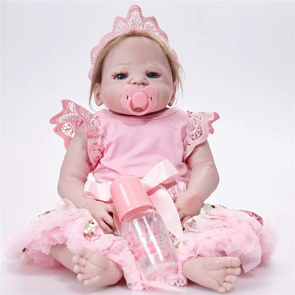 Hongge Completa Ragazza Realistico in Silicone Vinile Reborn Baby Doll Bambini Bambole realistiche Princess Kids Toy Regalo di Compleanno 58cm
