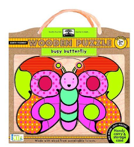Green Start Wooden Puzzles - Green Start Wooden Puzzles: Busy Butterfly - Earth Friendly Puzzles with Handy Carry & Storage Case
