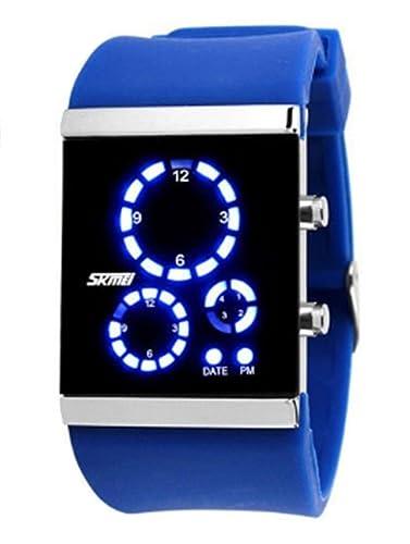 de silicona azul guapo llevó cuadrado del reloj digital de la jalea reloj deportivo de los hombres ocasionales reloj exquisito del color: Amazon.es: Relojes