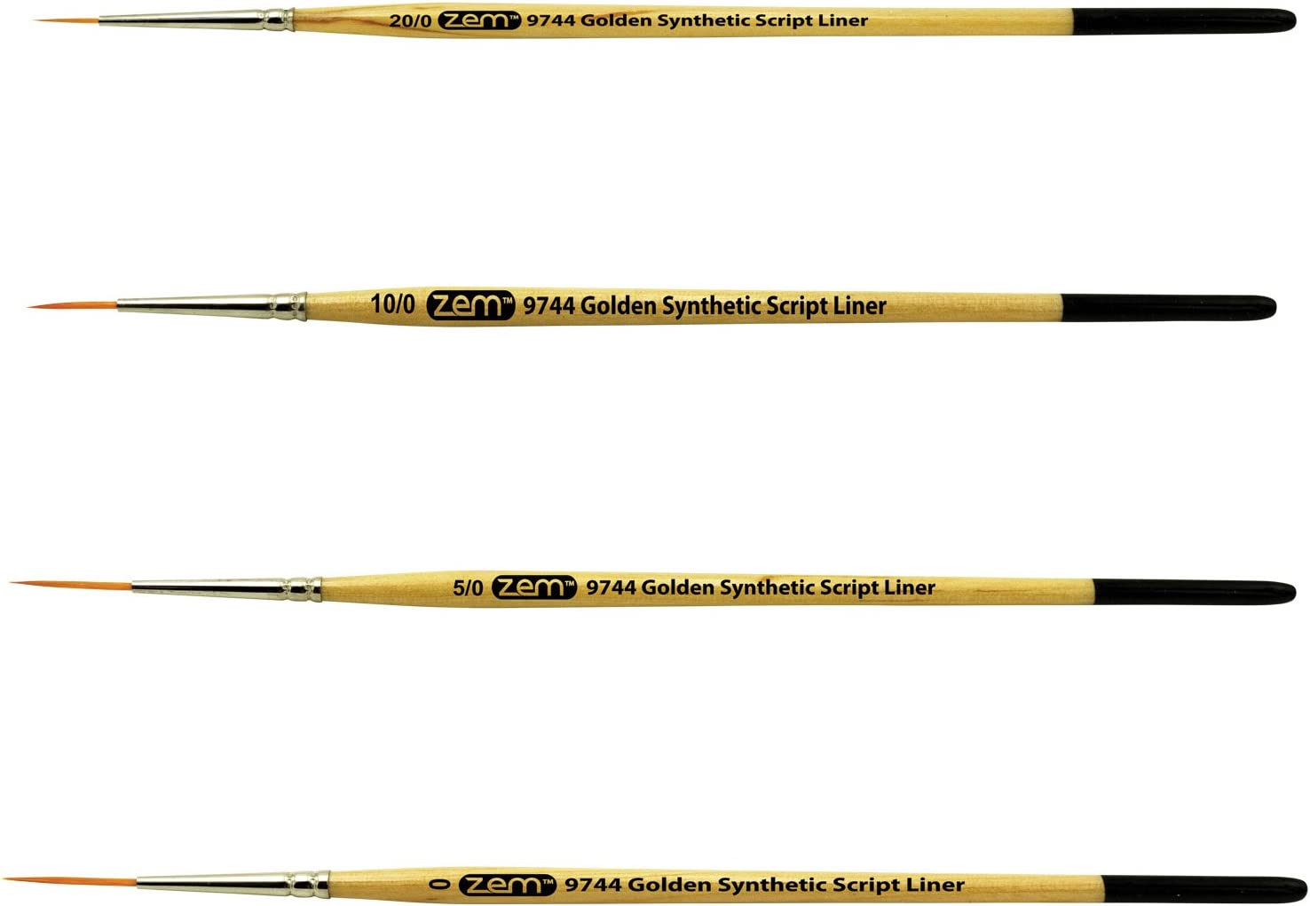 Student Golden Synthetic Long Liners Brushes Sizes 20//0 10//0 5//0