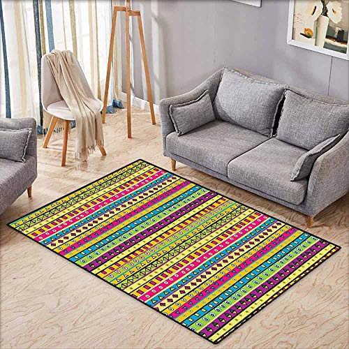 Classroom Rug,Retro Colorful Striped Abstract Pattern Triangles Squares and Kaleidoscope Fun Shapes Art Print,Children Crawling Bedroom Rug,4'11
