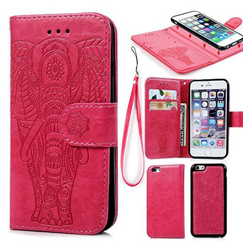 iPhone 6 6S Wallet Case PU Leather Oil Wax Embossed Elephant Flip TPU Case Cover Detachable Wallet Credit Card Slots Magnetic Flap Closure Cover for iPhone 6 6S Hot Pink ()