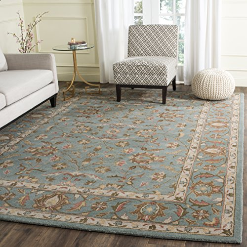 safavieh heritage collection hg969a handcrafted traditional oriental blue wool area rug 8u0027 x 10u0027