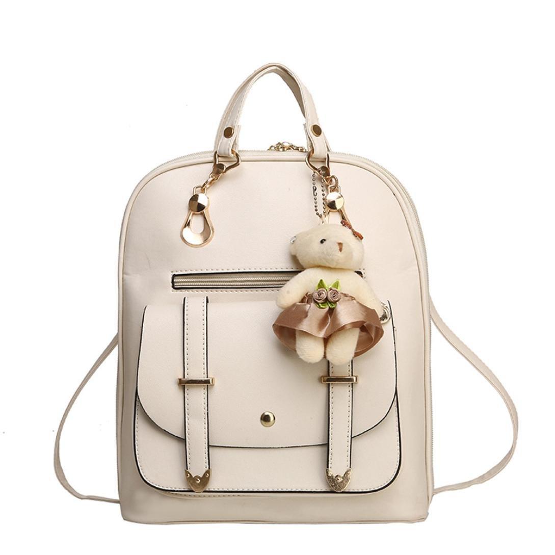 Women Handbag, Hunzed Girl School Leather Shoulder Bag Backpack Women Crossbody Bag Travel Rucksack Purse (Beige)