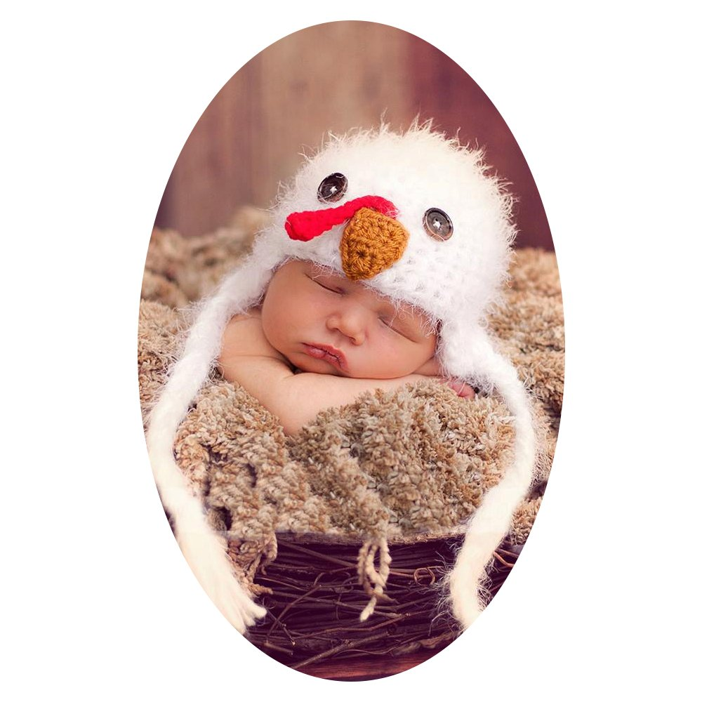 Baby Box Handmade White Chicken Hat Cap for Newborn Baby Photography Props