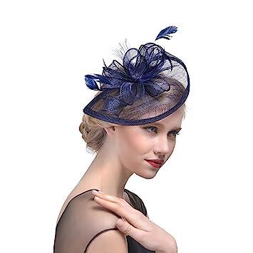 7a639c84a65e9 RUIXUE Fascinator Hats with Headband Hair Clips for Women Tea Party Wedding  Kentucky Derby (Navy