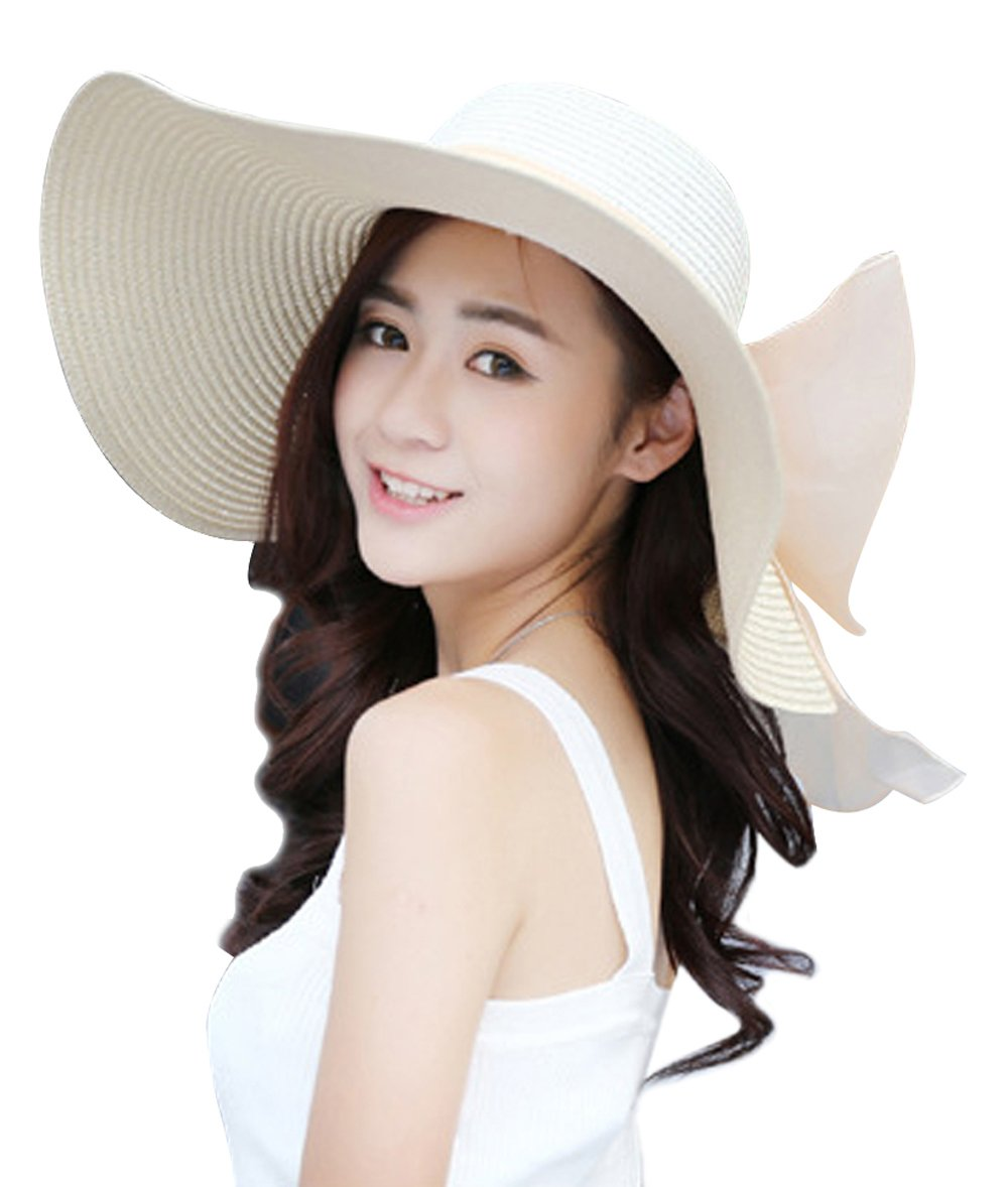 22908dc3 Kaisifei Bowknot Casual Straw Women Summer Hats Big Wide Brim Beach Hat < Sun  Hats < Clothing, Shoes & Jewelry - tibs