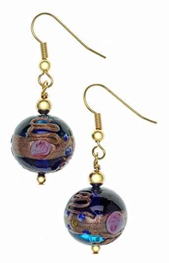 Amanti Venezia Cobalt Fiorato Design Murano Gold Plated Drop Earrings