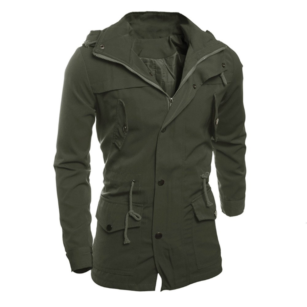 GOVOW Black Cotton Overcoat Men Autumn Winter Fashion Casual Soft Jacket Coat Slim Outwear(XL,Army Green)