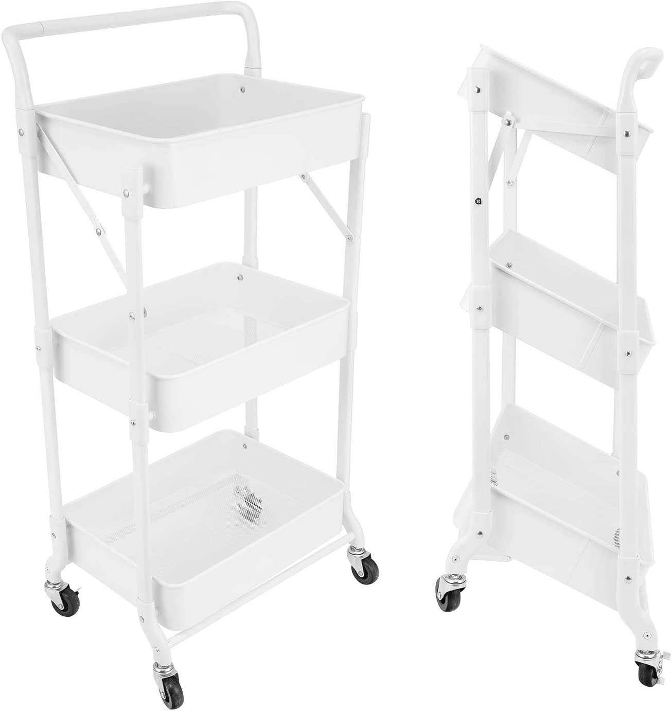 3-Tier Folding Rolling Cart Organizer, Utility Cart with Handle and Metal Storage Basket, Folding Storage Cart with Wheels for Kitchen/Bedroom/Living Room/Bathroom/Office, White