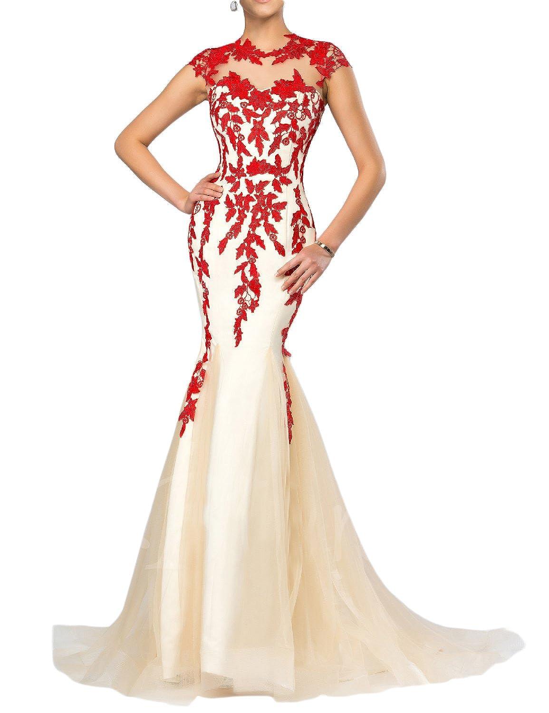 YSMei Women's Long Mermaid Evening Dress Cap Sleeve Prom Formal Gown 2017 YEV181