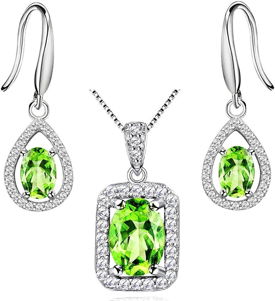 Uloveido Plata de Ley 925 Peridoto Verde Collar de Piedra Colgante y Pendientes Aniversario Conjunto de joyería de cumpleaños de Boda para Mujer FT001