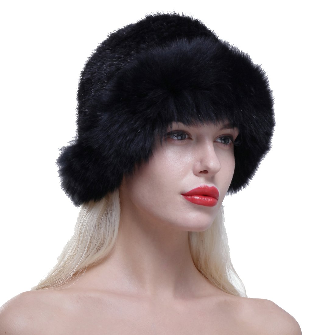 URSFUR Genuine Fox Fur Roller Hat with Knit Mink Top Black