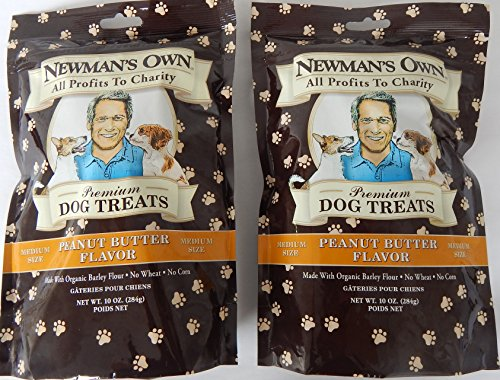 Newman's Own Organic Premium Dog Treats, Peanut Butter Flavor, Medium Size Biscuits, 10-Oz. (Pack of 2) ()