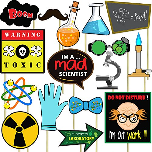Blue Orchards Mad Scientist Photo Props (32 Pieces) for Photo Booths, Selfies, Great for Birthday Parties, and More! Party Favors are Pre-Made (Not DIY) for Your Convenience!