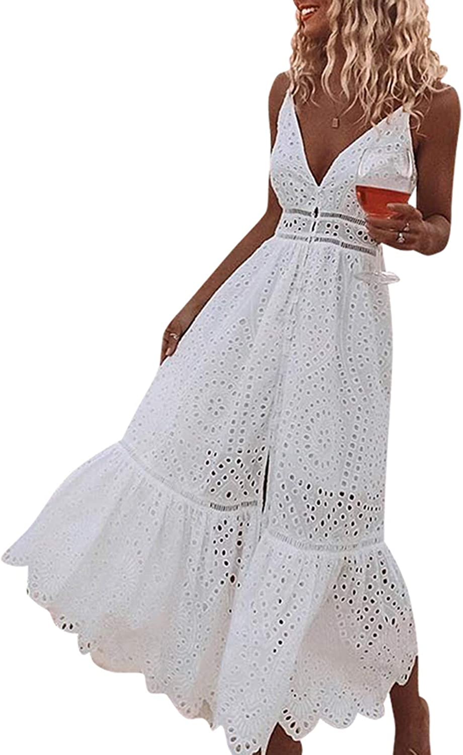 BerryGo Women's Embroidery Pearl Button Down Dress V Neck Spaghetti Strap Maxi Dress: Clothing