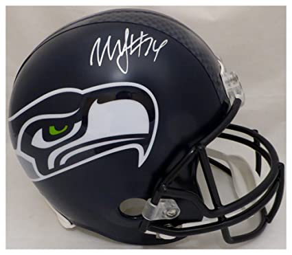 c9ab906cc Marshawn Lynch Autographed Signed Seattle Seahawks Full Size Replica Helmet  In Silver ML Holo Stock