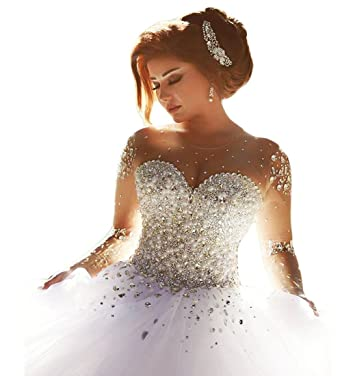 Beauty Bridal Pearls Beading Long Sleeves Ball Gown Gorgeous Wedding Dresses  For Bride 2015(6