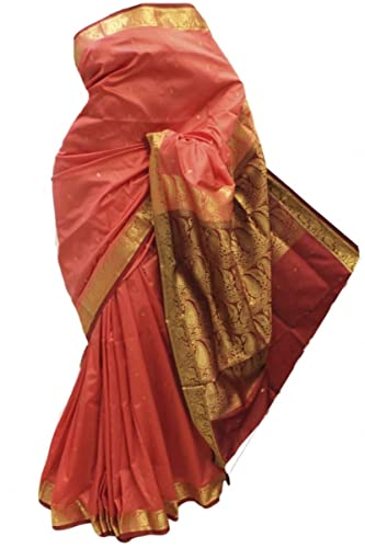 ASB3640 Corallo e Maroon Arte della Seta Saree Indian Art Silk Saree Sari Curtain Drape Fabric