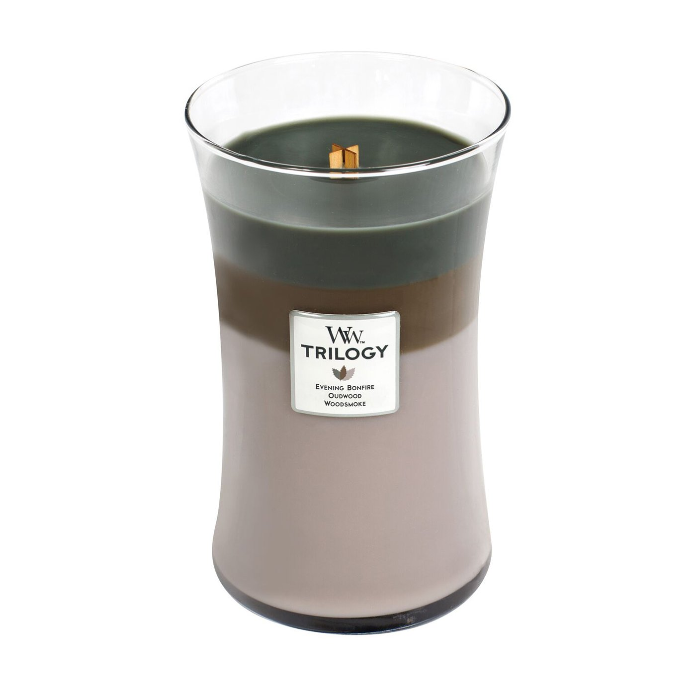 WoodWick Trilogy Cozy Cabin, 3-in-1 Highly Scented Candle, Classic Hourglass Jar, Large 7-inch, 21.5 oz by WoodWick
