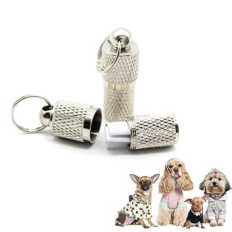 Foonee Etiqueta de Identificación de Mascotas Perros y Gatos Tubo Circular a Prueba de Humedad y