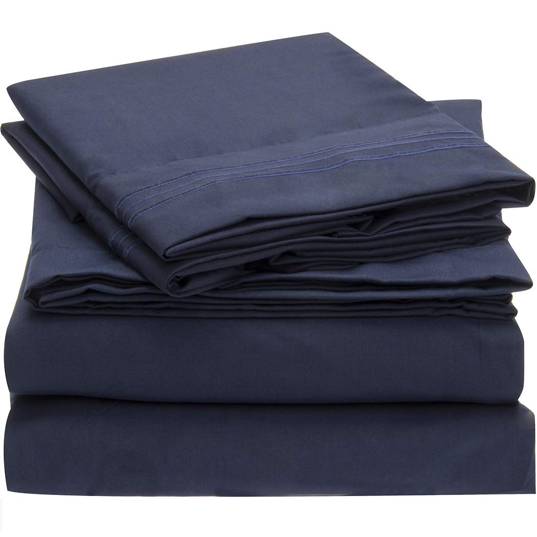 Mellanni Bed Sheet Set - Brushed Microfiber 1800 Bedding - Wrinkle, Fade, Stain Resistant - Hypoallergenic - 4 Piece (King, Royal Blue)