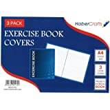 1 Pack of 3 Clear Exercise Book Covers (A4 - 21.5cm x 30.6cm) Strong Plastic Protecting Sleeves School Notebook