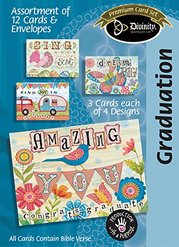 Divinity Boutique (23113N) Greeting Card Assortment: Graduation 5 x 7 Inch, Set of 12 - 3 sets of each 4 - Boutique Outlet