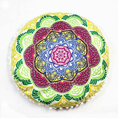 2017 NEW!Napoo Indian Mandala Print Pillows Round Bohemian Home Pillows Case Cushions (E)