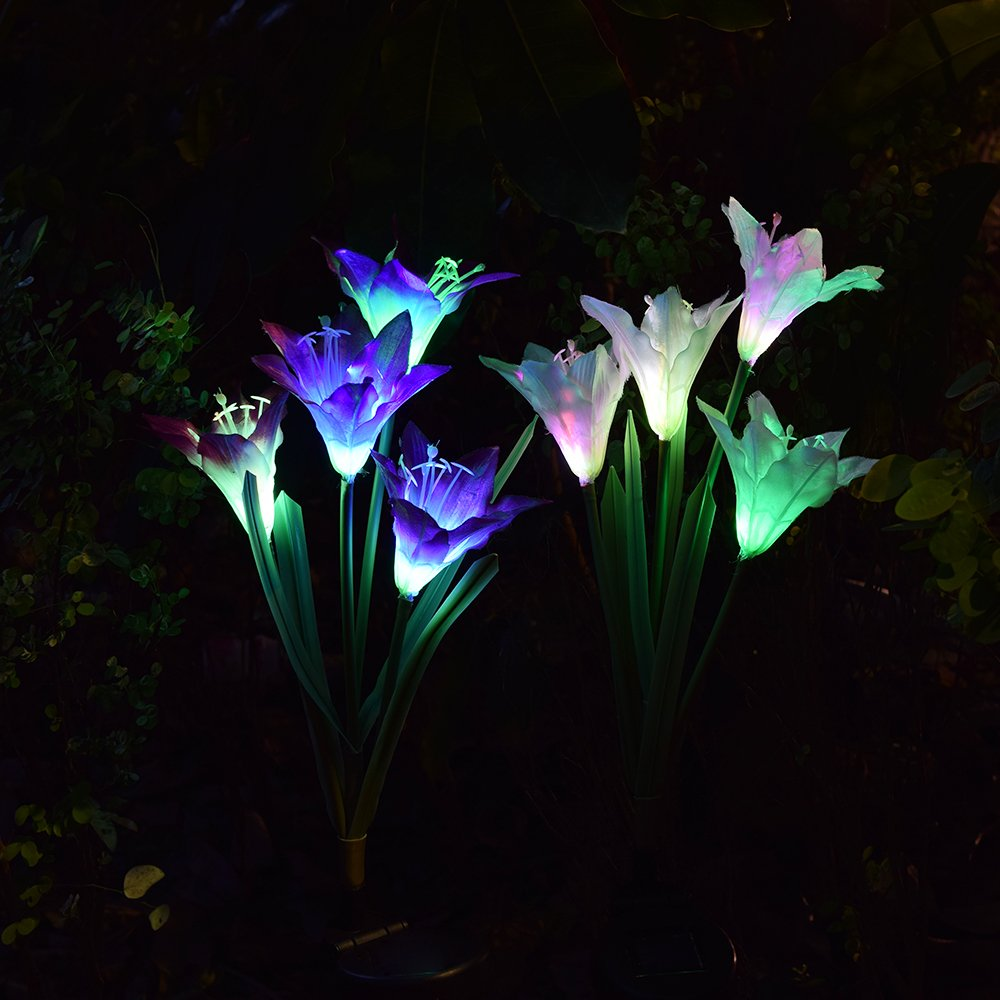 Outdoor Solar Garden Stake Lights - 2 Pack Solarmart Solar Powered Lights with 8 Lily Flower, Multi-color Changing LED Solar Stake Lights for Garden, Patio, Backyard (Purple and White) by Solarmart (Image #4)