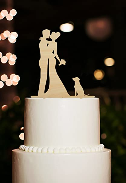 Wedding Cake Toppers Bride and Groom Kiss with Dog Vintage Rustic Wedding  Cake Topper