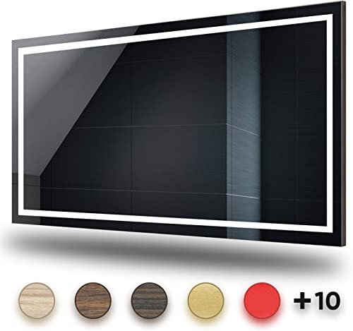 LED Lighted Bathroom Mirror Width 31 inch x Height 35 inch with Solid Cover on the Back Wall-Mounted Premium Mirror IP44 with Switch, LED Clock, Make-Up Mirror Customizable 15 Frame color