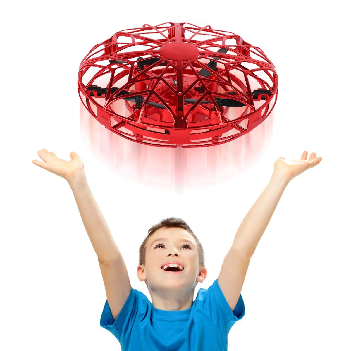 Byserten Toys for 4 5 6 Year Old Boys Byserten Mini Indoor Drone Air Magic Hogs Flying Toys Remote Control Helicopter UFO Hand Operated Drones for Kids with LED Lights Gifts Birthday Christmas Red by Byserten